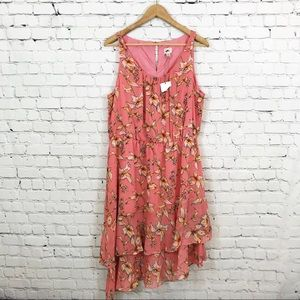 A New Day NWT Pink And Yellow Floral Ruffle Dress